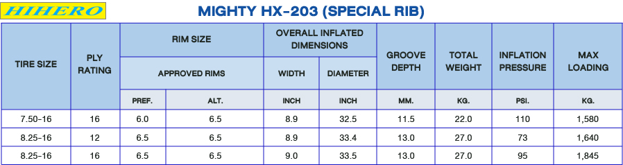 Hihero Tire Detail: LIGHT TRUCK TIRE : Mighty HX-203 (Special Rib)